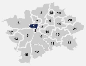 Mapa umístění internetového připojení na Praze 1