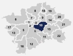 Pohled na mapu internetu na Praze 10, kde poskytujeme rychlý internet