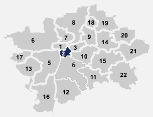 Mapa umístění internetového připojení na Praze 2