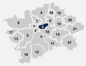 Mapa umístění internetového připojení na Praze 3