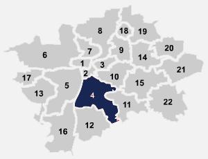 Mapa umístění internetového připojení na Praze 4